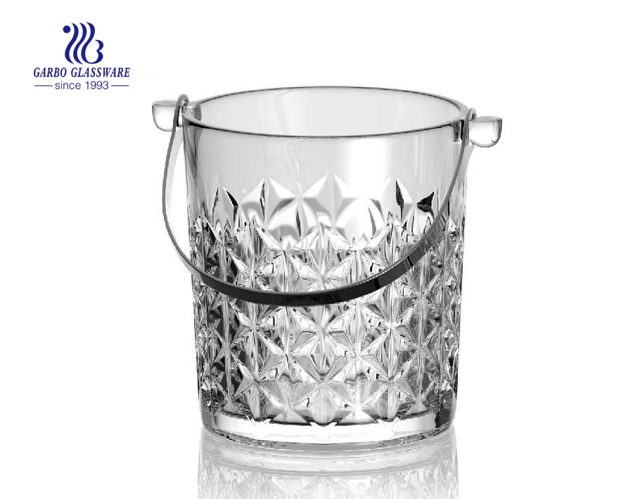 1L removable glass ice bucket with cutting design used at homes and bars