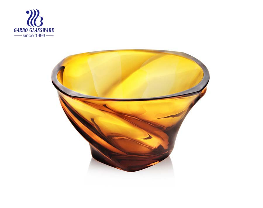 8.8'' Amber Color Glass Bowl for Fruit Serving