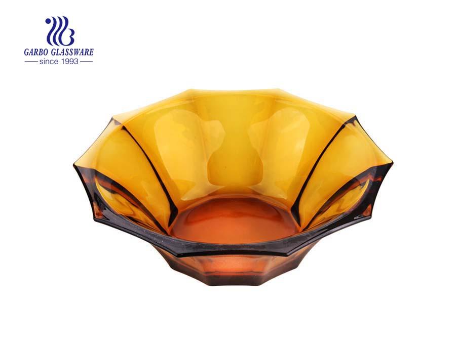 8.8'' Amber Color Glass Bowl for Fruit Serving