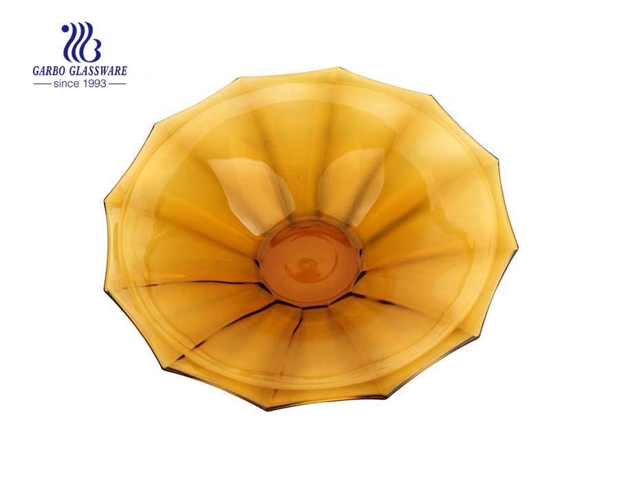 15.75'' Amber Color Elegant Glass Plate for decoration