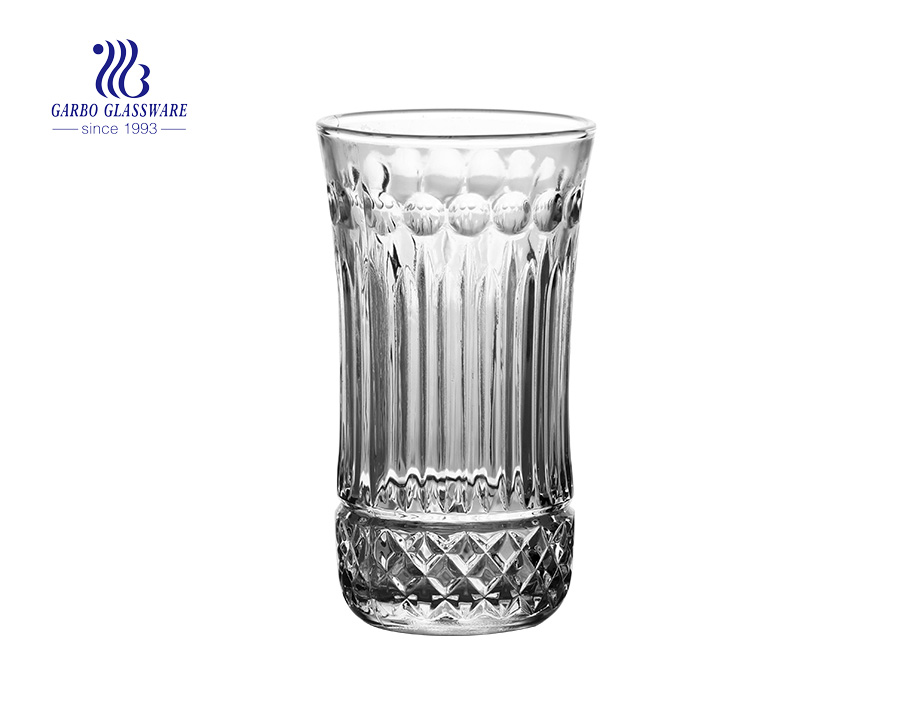 hot selling factory price fish designs 240ml glass juice tumbler