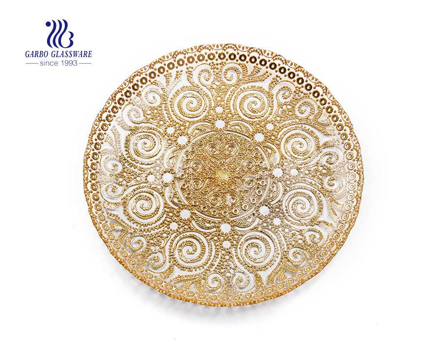 Weddding use big 13 inch gold silver glass flat dinner plate