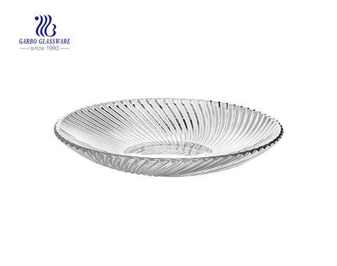 Weddding use big 13 inch gold silver glass flat dinner plate