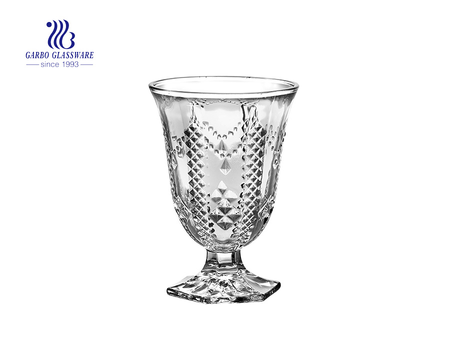 New design engraved clear glass ice cream cup