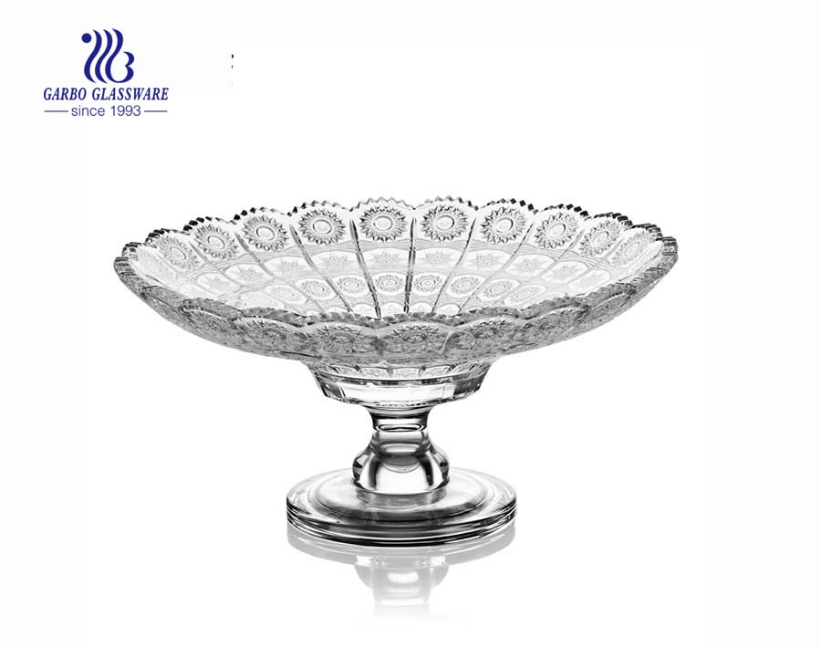 10.63'' Sunflower design of  Glass Plate with stand