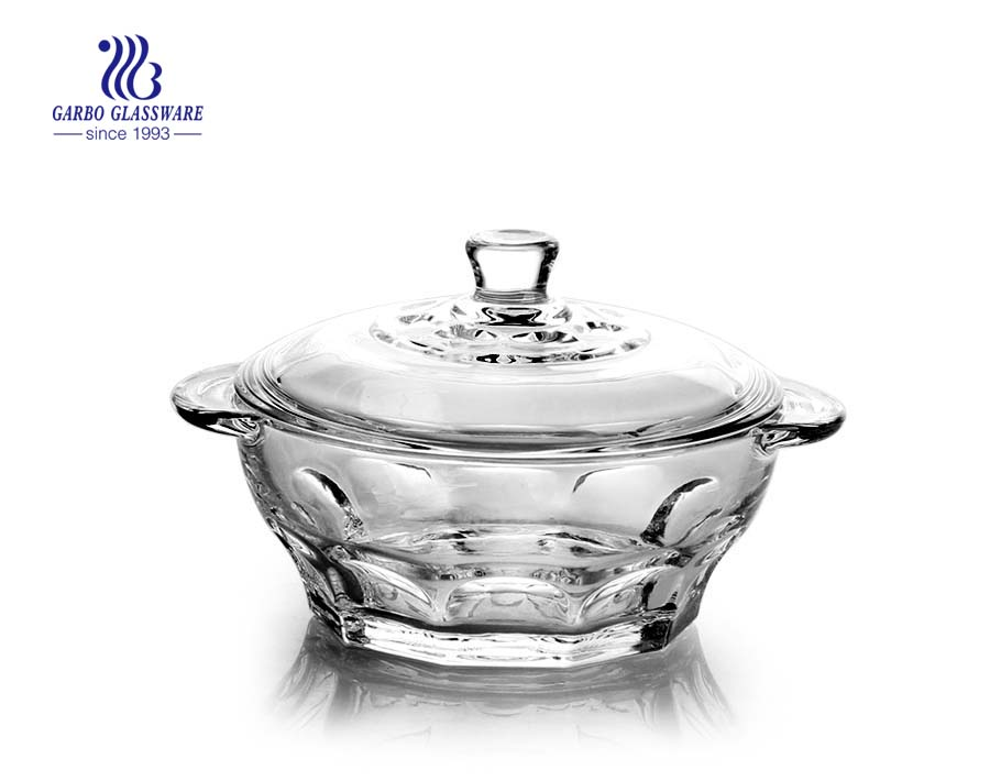 700ml Glass Serving Salad Bowl Dessert Bowl with Lid Fruit Transparent Container Storage