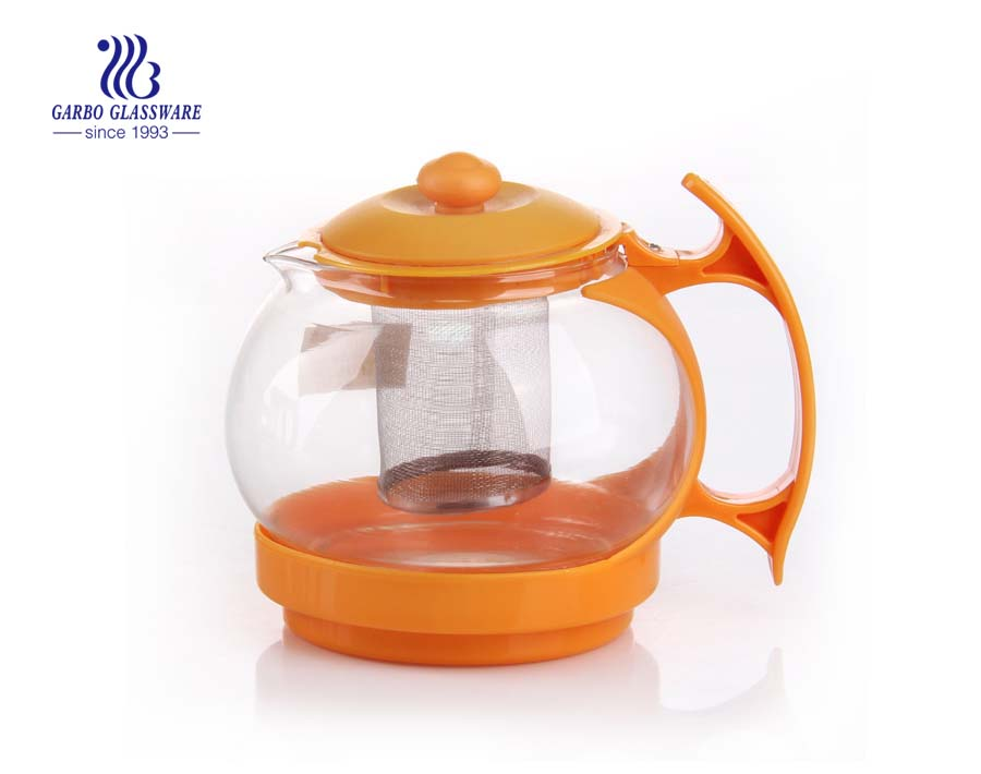 1.5L machine blown glass teapot with stainless strainer and customized color handgrip