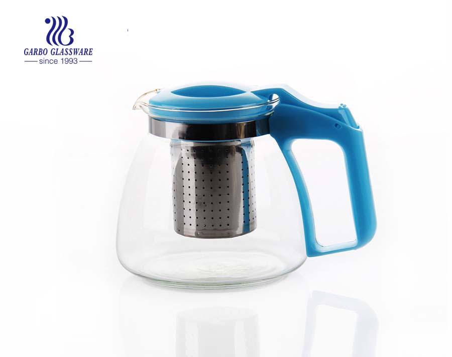 900ml-1400ml transparent clear glass teapot cheap wholesale with tea strainer and custom decal