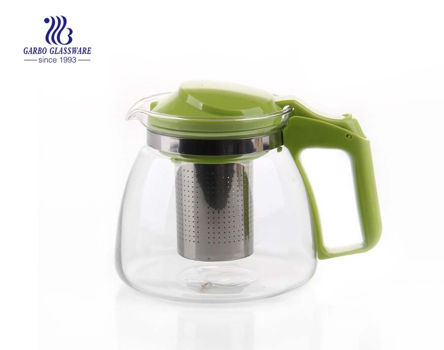 900ml-1400ml transparente Klarglas Teekanne billig Großhandel mit Teesieb und benutzerdefinierten Aufkleber