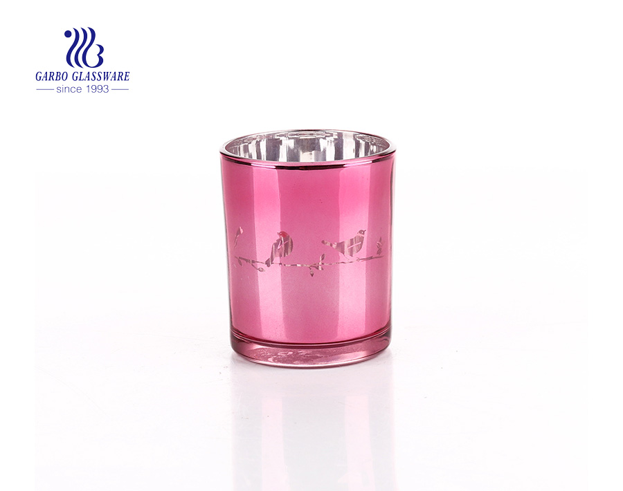 Pink Decoration Girl Style Glass Candle Holder