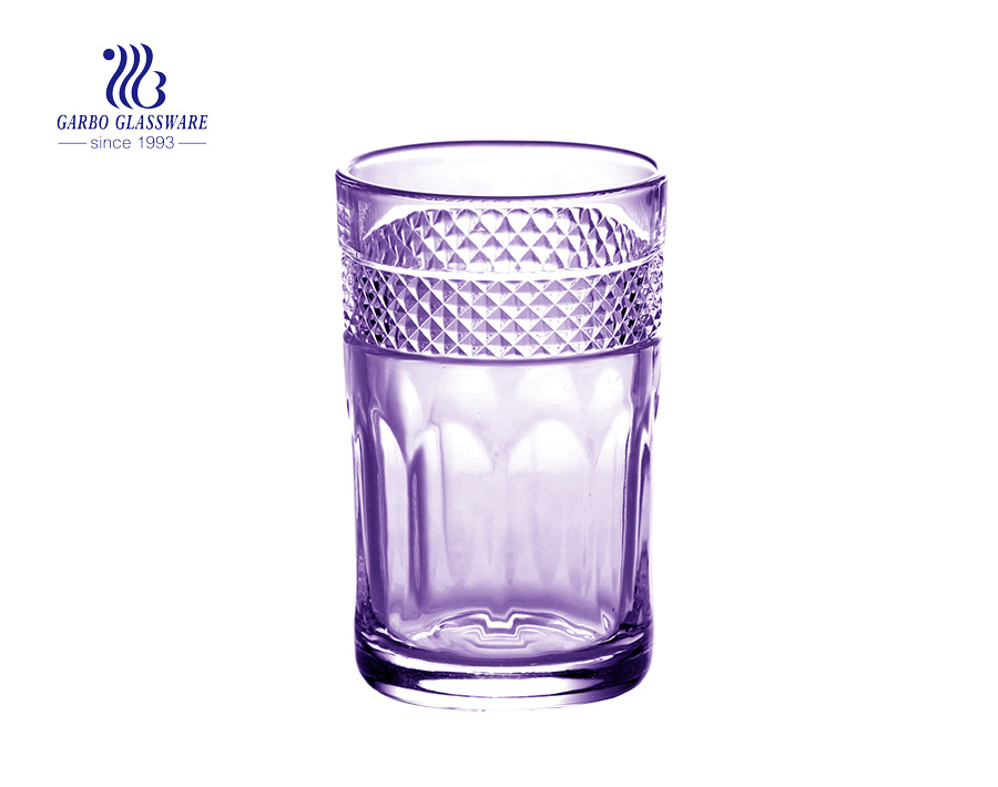6oz  color glass engraved tea glass drinking cup