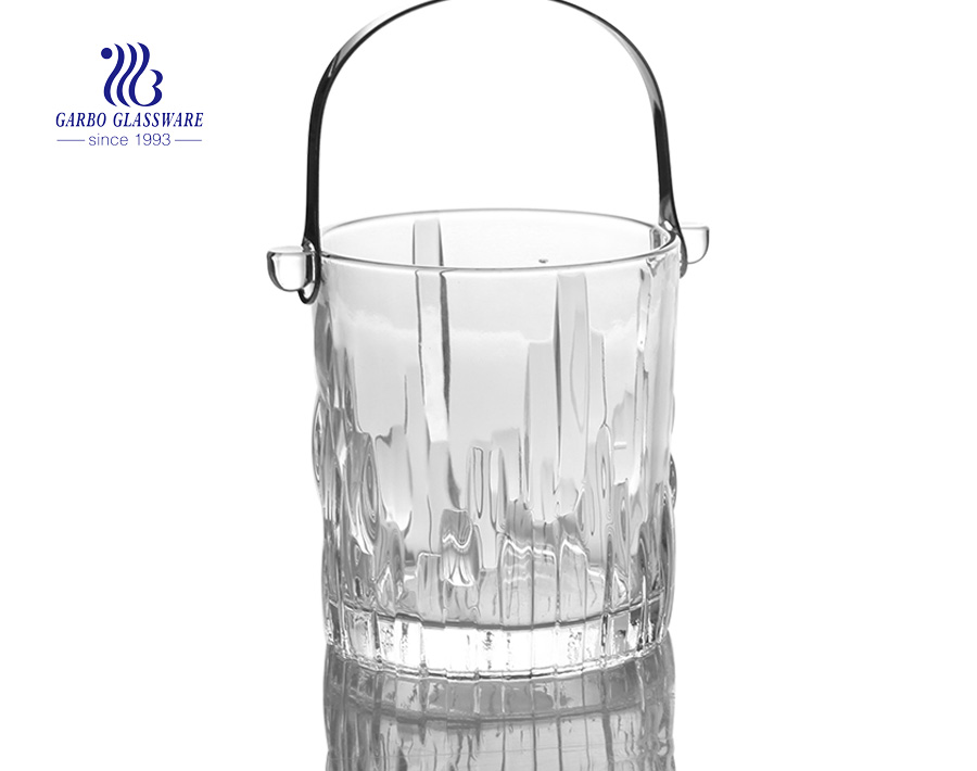 1L delicate glass ice bucket with stainless steel handle wholesale