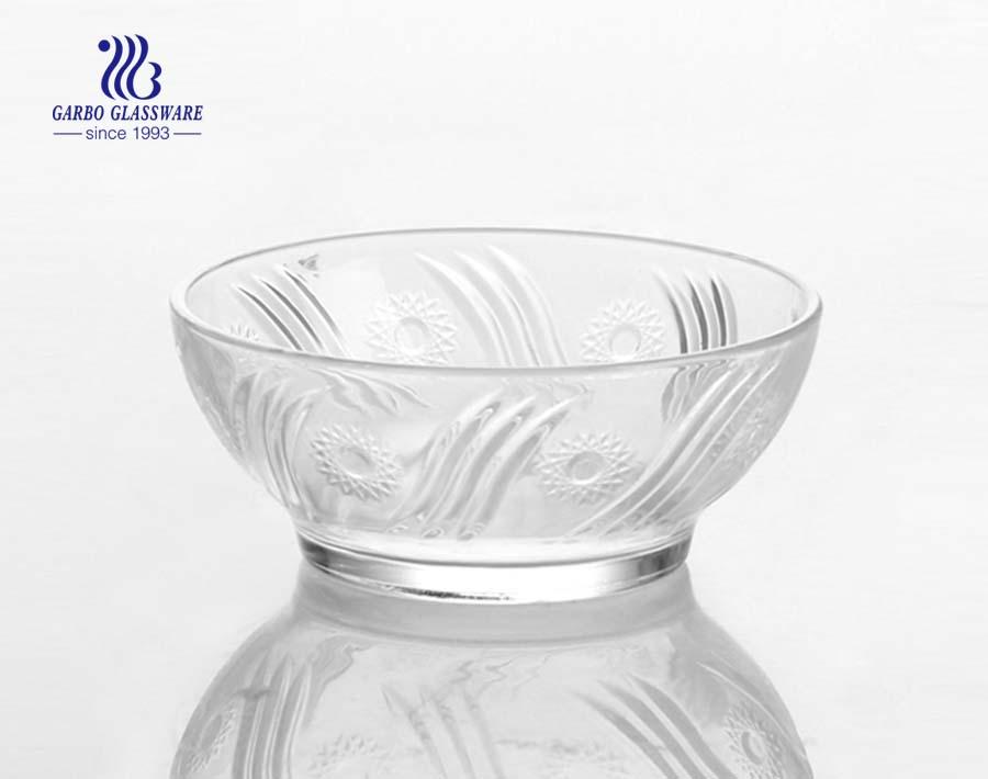 Tigela de vidro decorativa de design de flor de sol de 5 polegadas