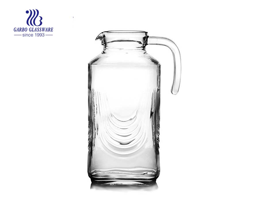 فريد إبريق زجاجي مربع منقوش الصين إبريق زجاجي مصنع الأواني الزجاجية في الأسهم بالجملة