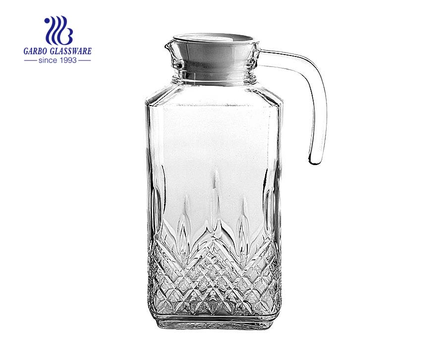 Unique embossed square glass jug China glassware factory glass pitcher in stock wholesale