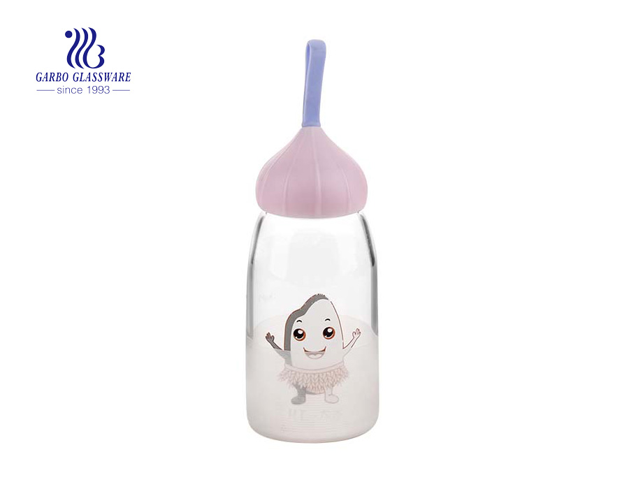 Cute Heat Resistant Borosilicate Glass Bottle With Lid