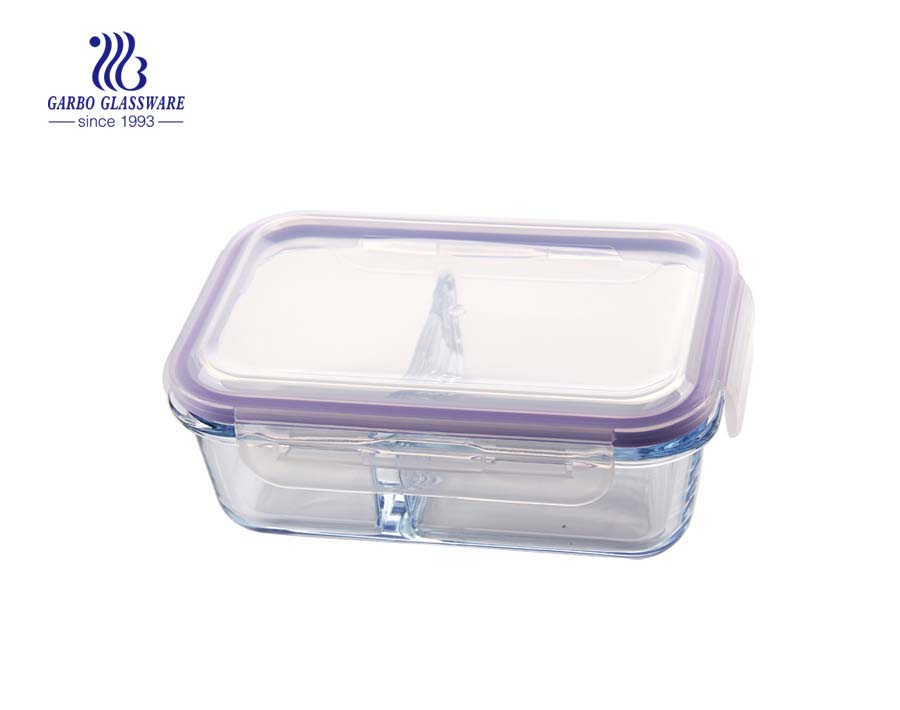 Retangular shape borosilicate glass food container glass lunch box