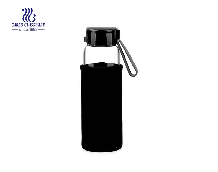 Botella de agua deportiva clásica de 280 ml en material de vidrio de borosilicato