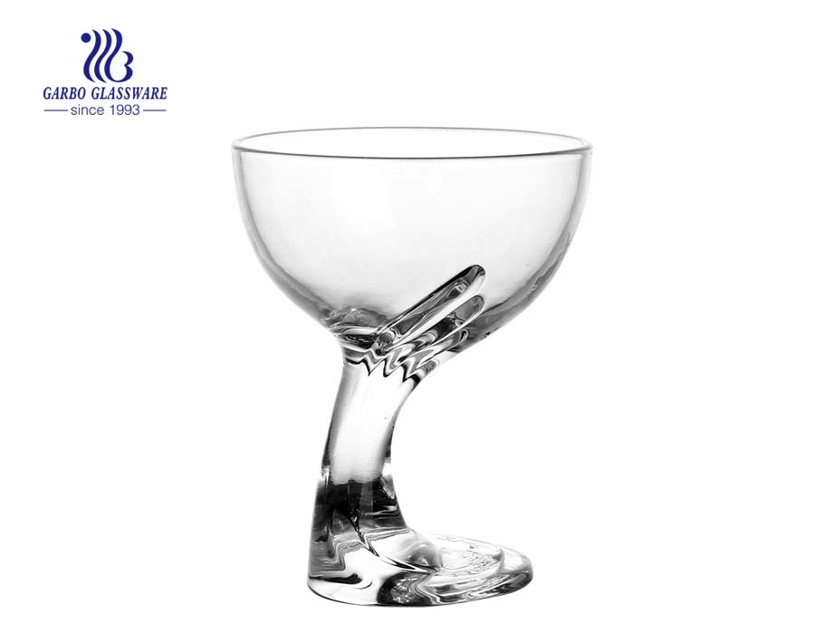 Classic hand design glass ice cream cup with factory price