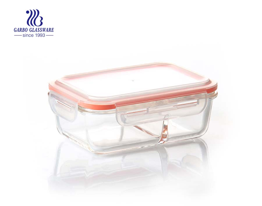 7.2inch 2 divider pyrex glass food container lunch box with airtight plastic and silicone lid