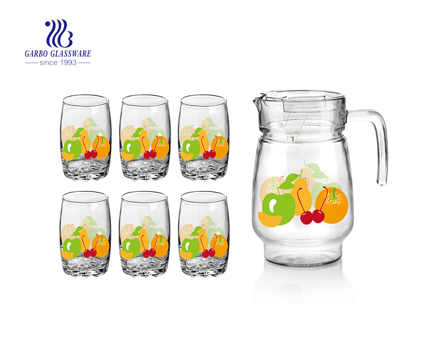 Family use 7pcs apple/orange/strawberry printing water glass drinking set