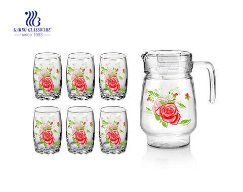 Restaurant/ Hotel use flower design 7pcs glass juice drinking set