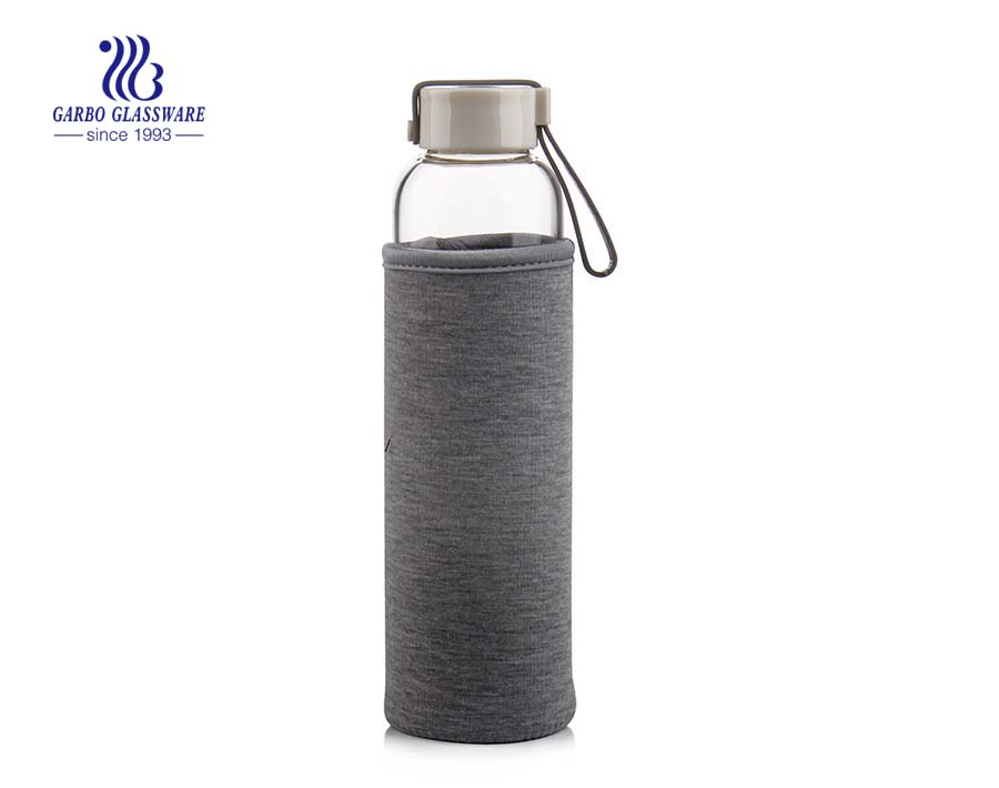 550ml Glass Water Bottle With Protective Sleeve For Sports