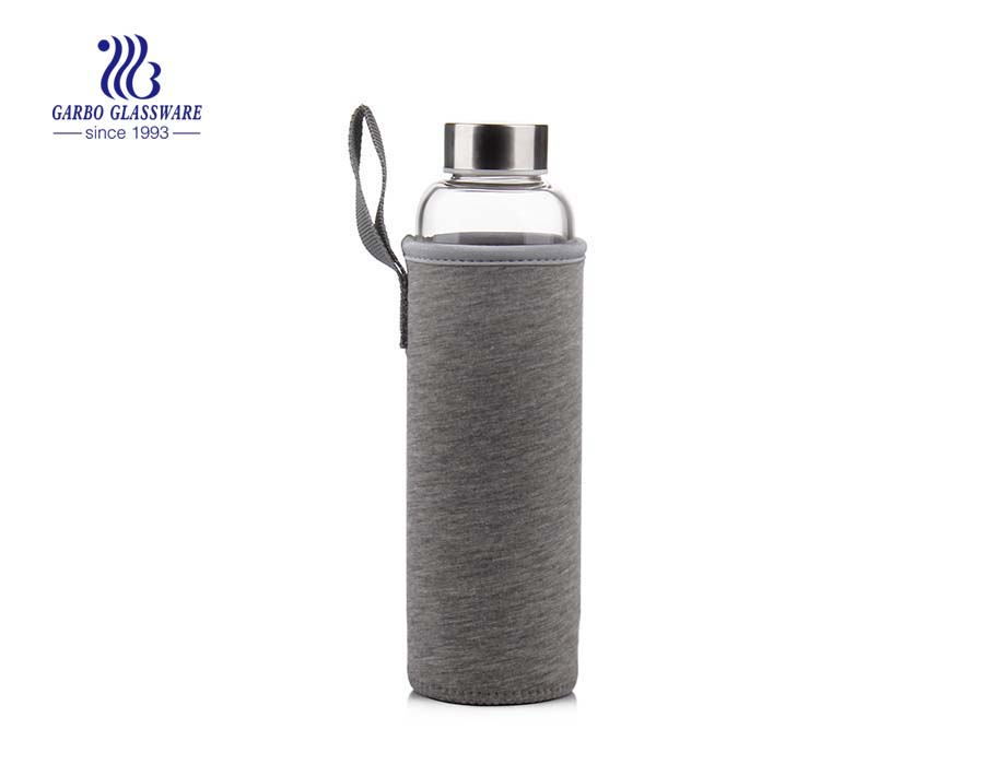 550ml glass water bottle with protective sleeve for sports 550ml glass water bottle with protective sleeve for sports