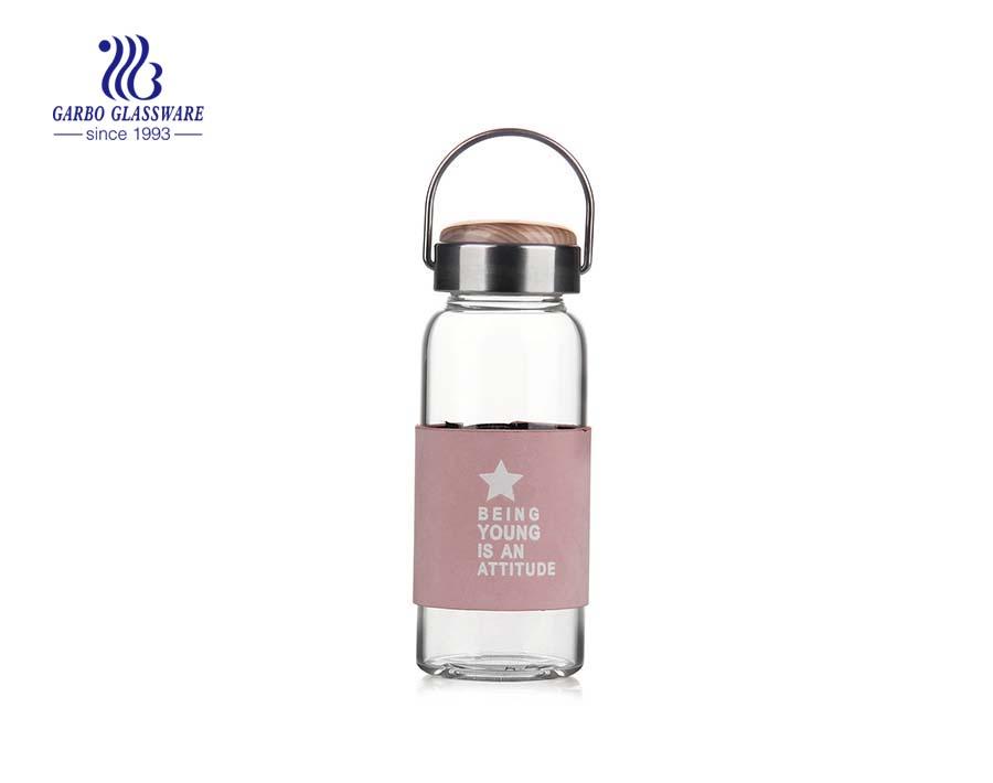 270ML handgefertigte geblasene Glaswasserflasche zum täglichen Trinken