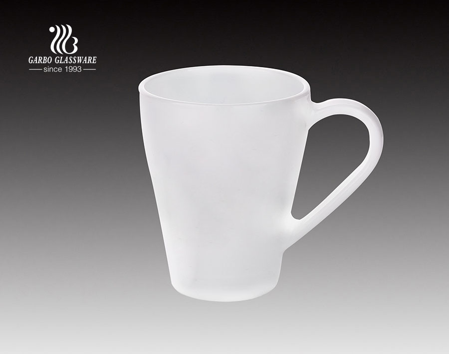 380ml High White Opal Glass Tea Mug For Restaurant And Home Used