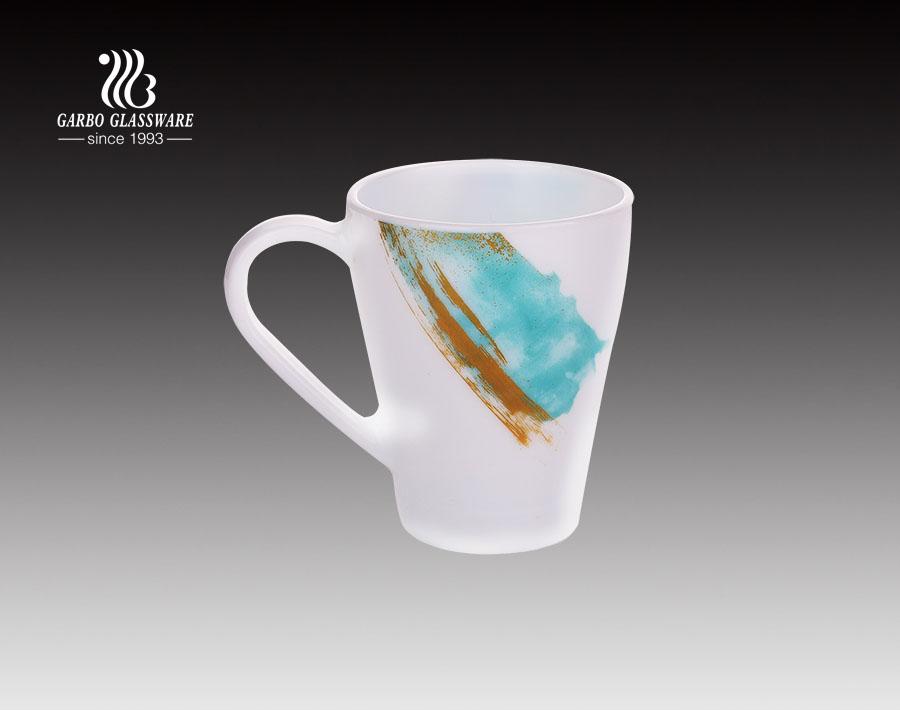 Caneca de vidro do chá da opala 380ml alta branca para o restaurante e a casa usados