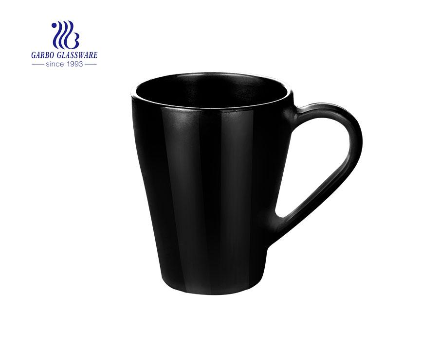 Taza de cristal del ópalo del negro de la taza de té del café de la empuñadura 380ml para el hogar usado