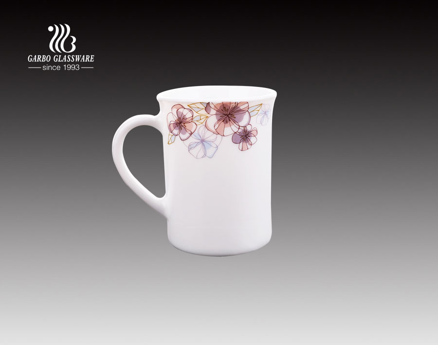340ml Opal glass mug with custom flower for dinnerware