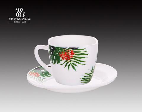 Juego de taza y plato de vidrio de ópalo de venta caliente de té de 8 oz