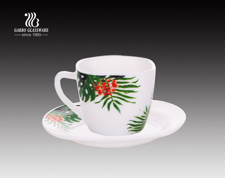 8oz tea drinking hot sale opal glass mug and saucer set