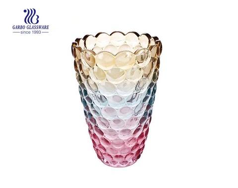 Vaso de vidro decorativo de talheres de registro de cores