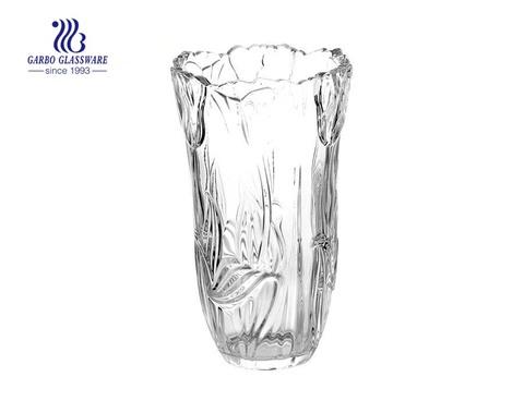 Einfache gravierte Blumen Design Vase aus klarem Glas