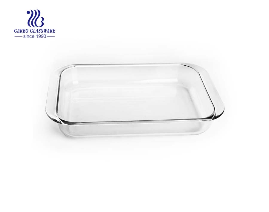 Heat resistant baking dish 12inch borosilicate glass plate with lid