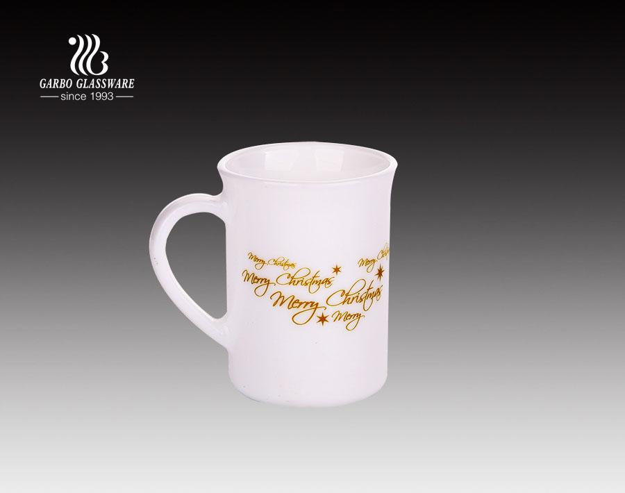 220ml Customized Decal Decor Opal Glass Coffee Tea Mug With Handle