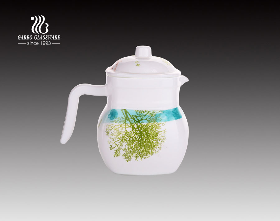 China opal glassware factory opal glass pitcher jug carafe with custom decal