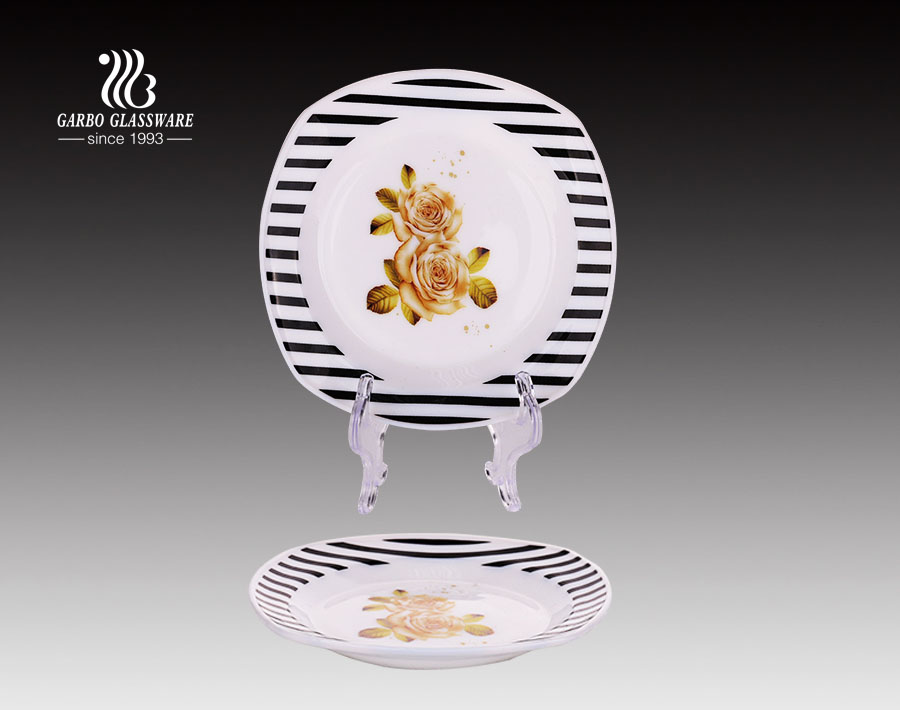 Hot selling 6 inch dessert plate opal glass plate with China factory
