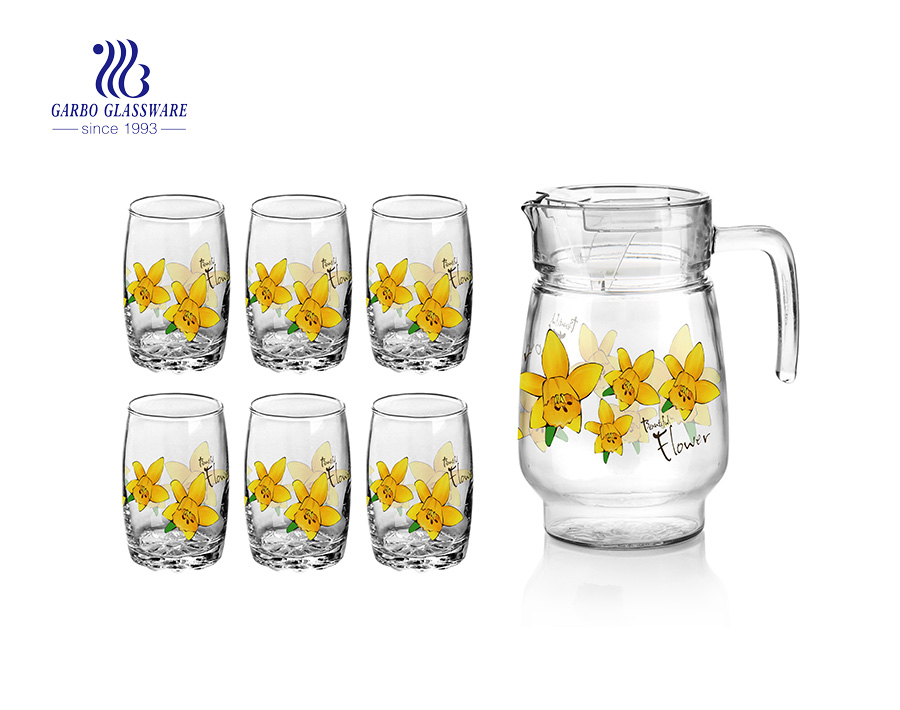 Wholesale Restaurant/ Hotel use flower design 7pcs glass juice drinking set