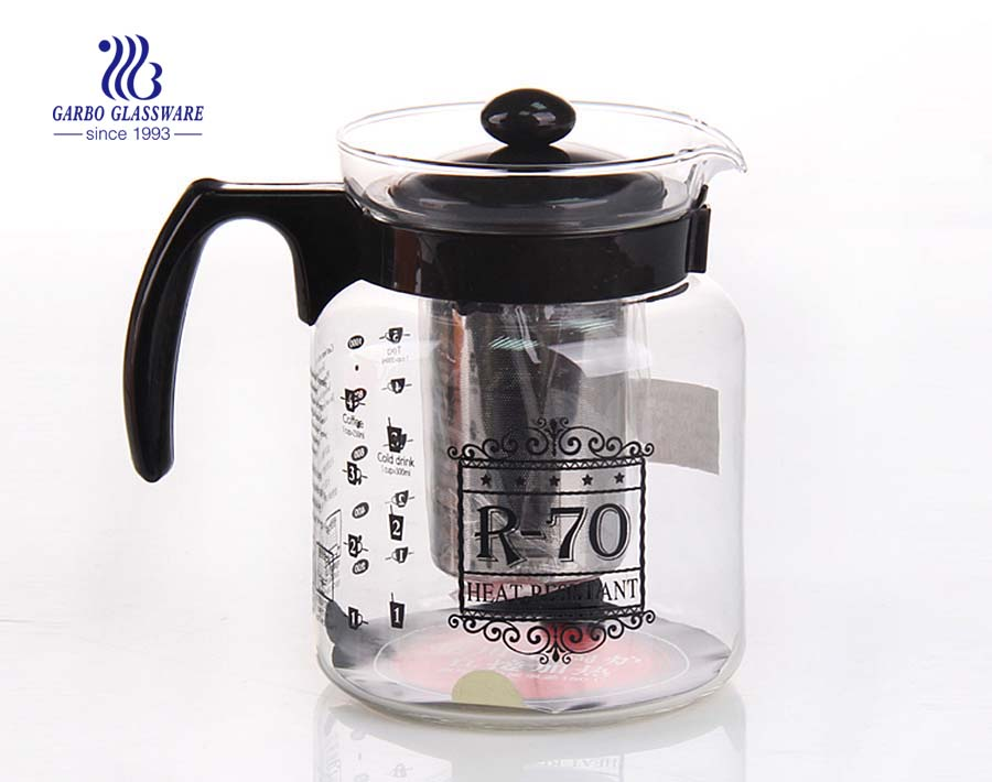 Machine blown and pressed glass tea pot with custom color plastic handle accessories