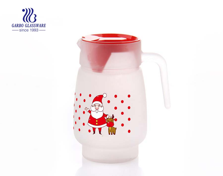 Custom frosted glass carafe pitcher with printing decal low MOQ