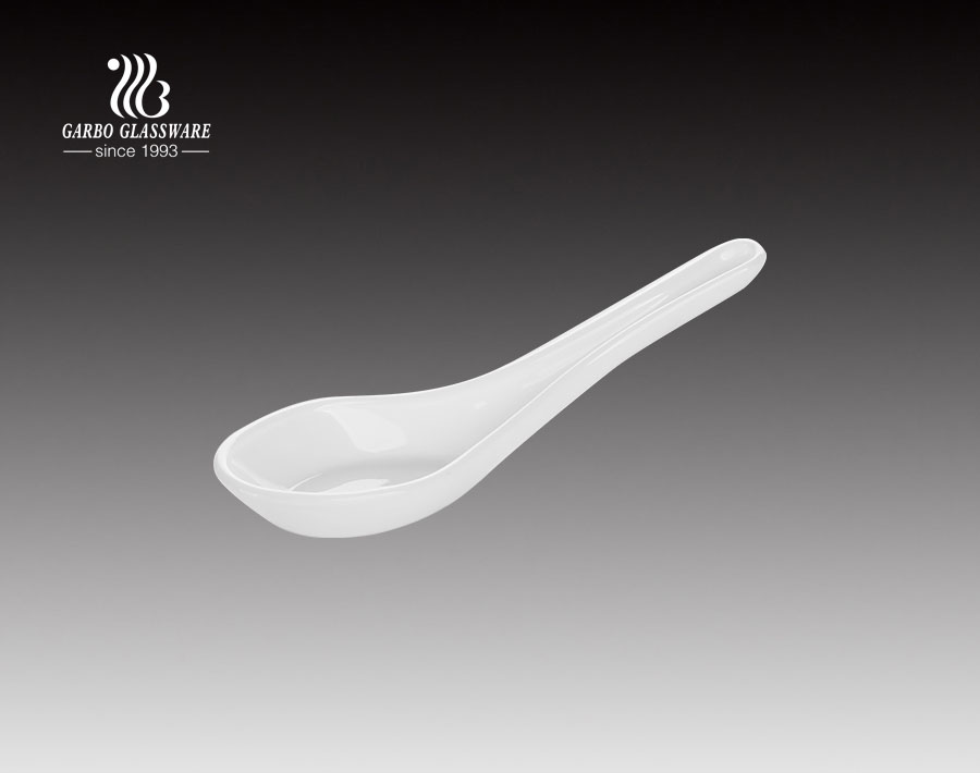 Opal glassware direct factory white opal glass spoon with custom printing decal