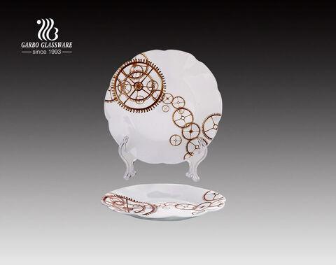 Diseños de calcomanías de precio de fábrica de 7.5 pulgadas placa de vidrio de cena