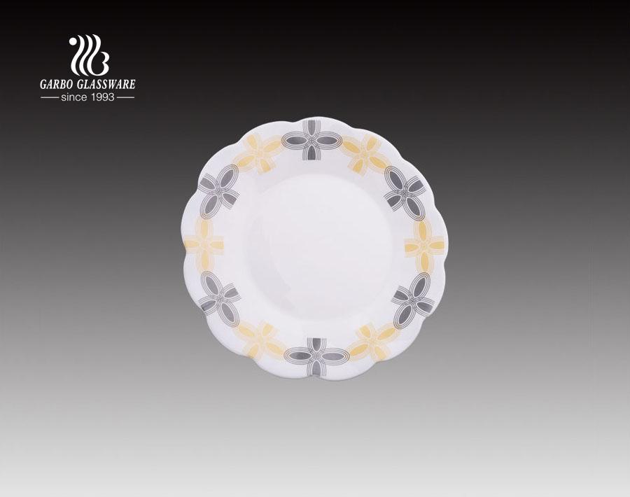 7.5 بوصة سعر المصنع شارات تصاميم لوحة العشاء الزجاجية