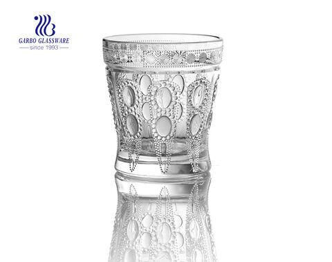 Vaso de jugo de vidrio grabado de 9oz con diseño de diamante