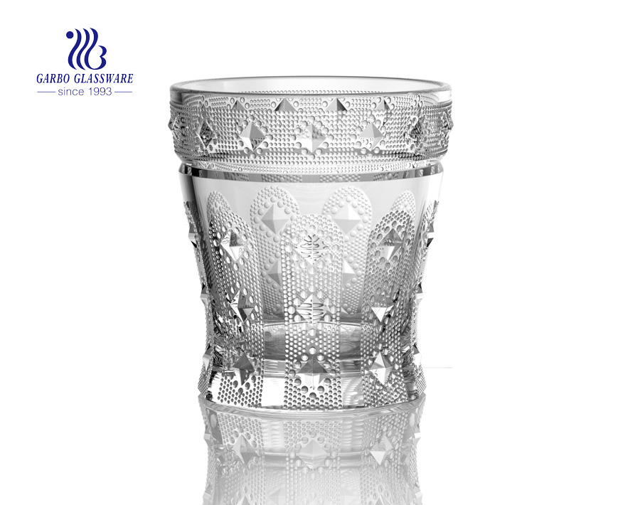 Diamond design 9oz engraved glass juice tumbler
