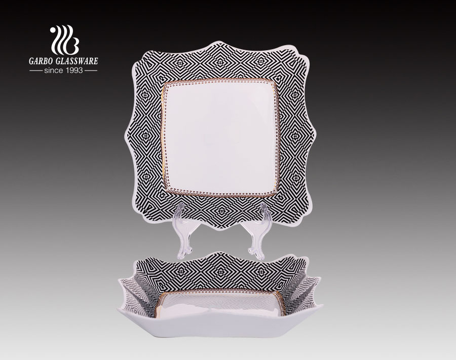 10inch square opal glass dinner plate for kitchenware